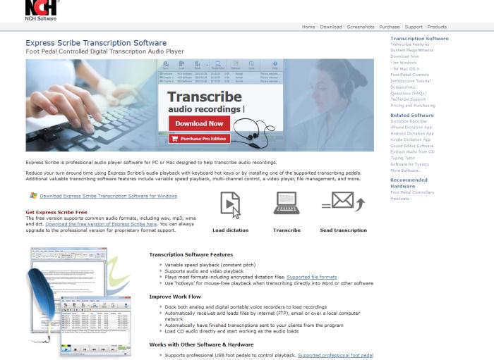 Express Scribe home page screenshot