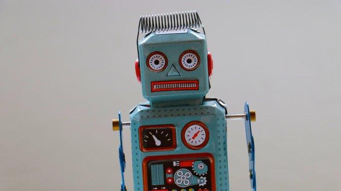 Crazy-looking robot, metal.